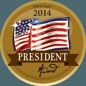 kelly roofing president award logo