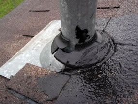 Cracked boot used to seal pipe on roof