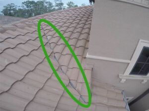 Tile Roof image with green oval showing top flashing