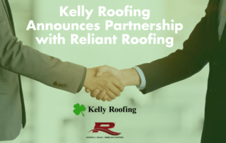 two businessmen shaking hands with the caption Kelly Roofing Announces Partnership with Reliant Roofing